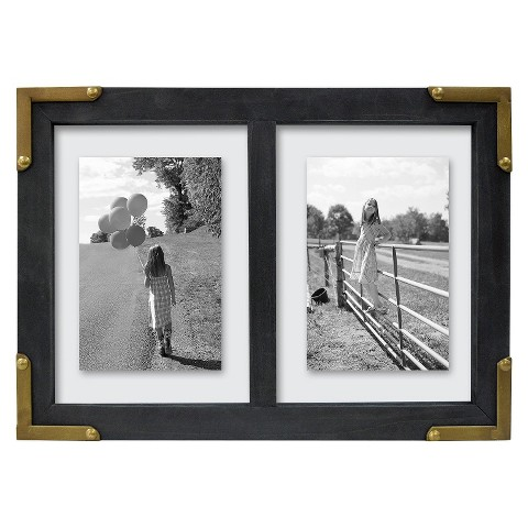 Metal Cornered Multi Float Frame - Black/Brass 5X7