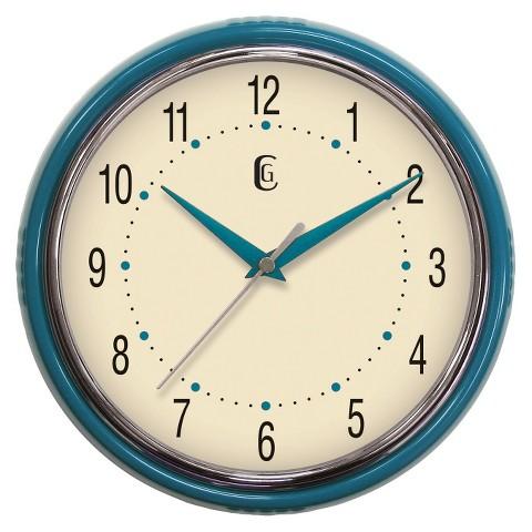 """Geneva Plastic Wall Clock - Blue (9.5"""")"""