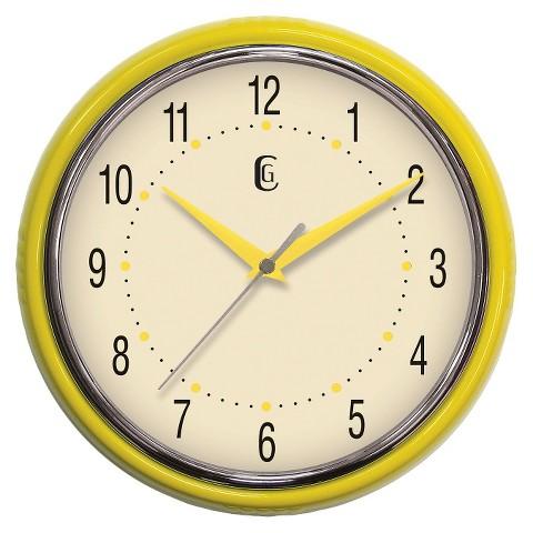 "Geneva Plastic Wall Clock - Yellow (9.5"")"