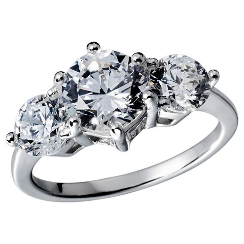 Cubic Zirconia Anniversary Ring - Silver