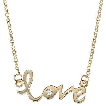 Love Pendant Necklace with Crystals - Gold