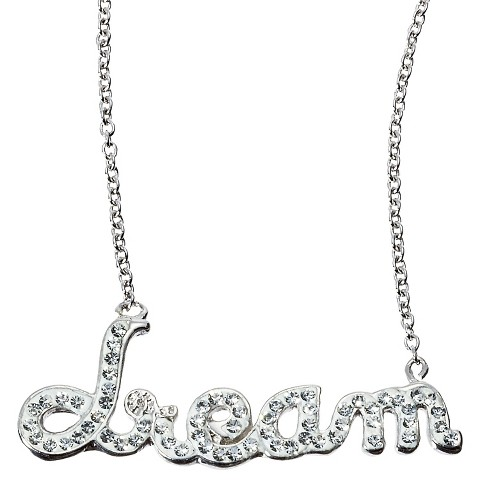 Dream Pendant Necklace with Crystals - Silver/White