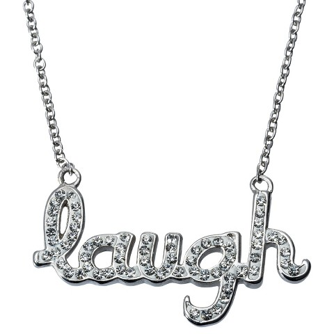 laugh Pendant Necklace with Crystals - Silver/White