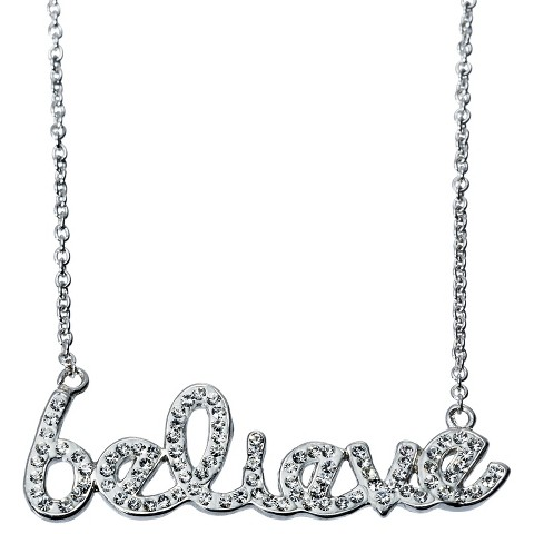 believe Pendant Necklace with Crystals - Silver/White