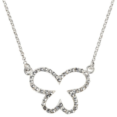 Butterfly Sterling Silver Pendant Necklace with Crystals - Silver/White