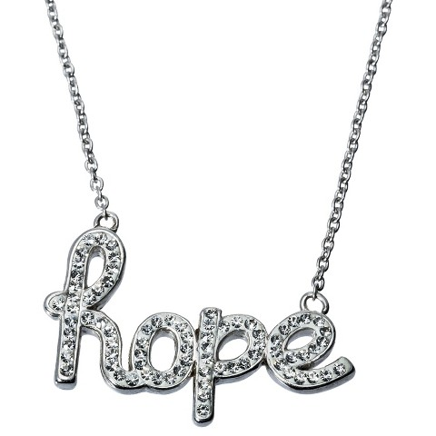 Hope Pendant Necklace - Silver/White
