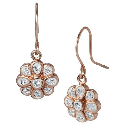 Dangle Earrings with Crystals - Rose