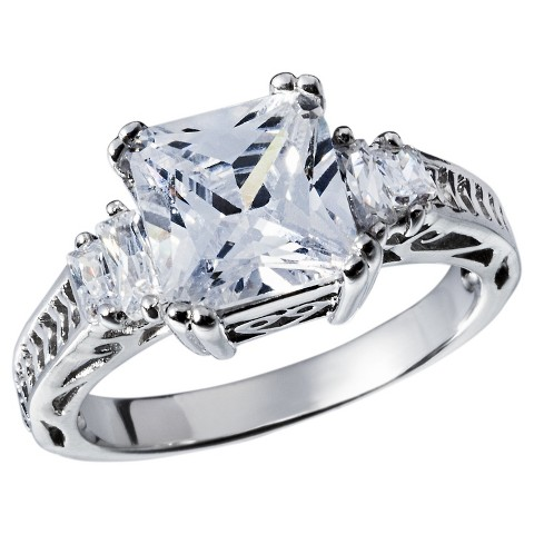 Cubic Zirconia Silver Plated Anniversary Ring - Silver