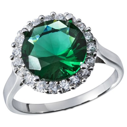 Cubic Zirconia Silver Plated Right Hand Ring - Green