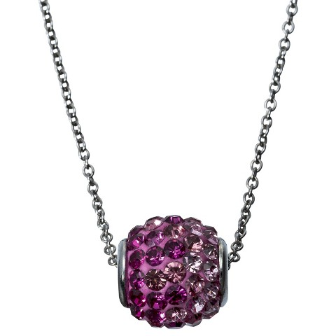 Cubic Zirconia Pendant Necklace with Crystals  - Pink