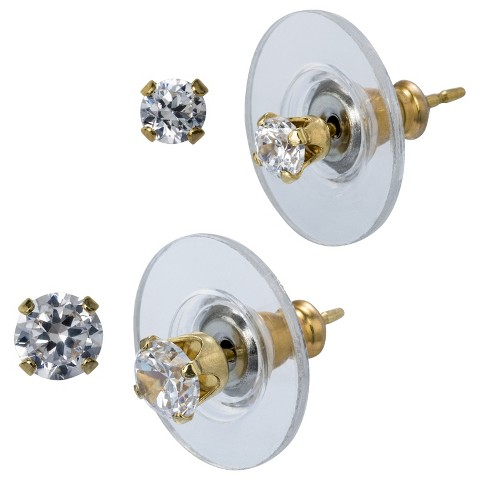 14K Gold Round Stud Earrings Set - Clear