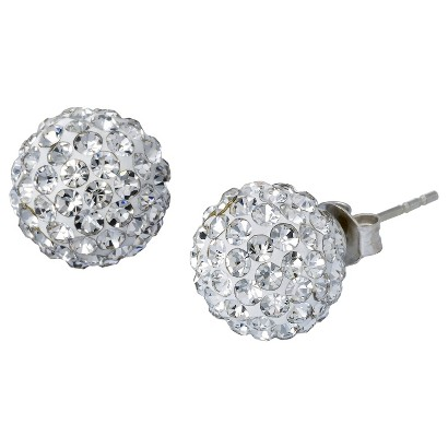 Silver Plate Earrings with Crystals 10mm - Silver