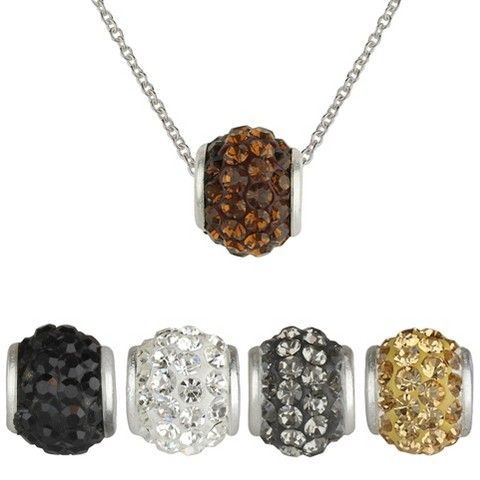 """Interchangeable Silver Plated Fireball Pendant Chain set of 5 - Multicolor (18"""")"""