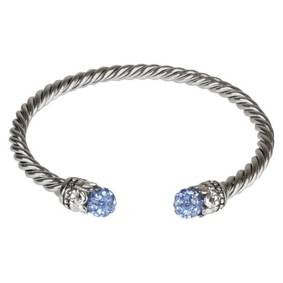 Crystal Fireball Cuff Bracelet - Blue (4mm)