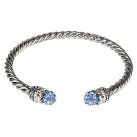 Crystal Fireball Cuff Bracelet - Blue (4mm)