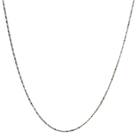 "Sterling Silver Twist Serpentine Spool Chain Necklace - Silver (18+2"")"
