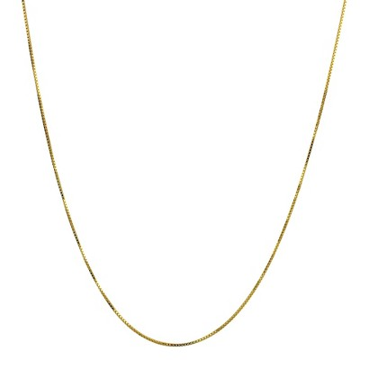"Sterling Silver Box Chain Necklace - Gold (16"")"