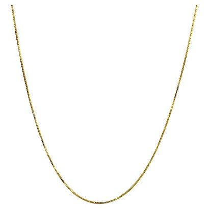 """Sterling Silver Box Chain Necklace - Gold (24"""")"""
