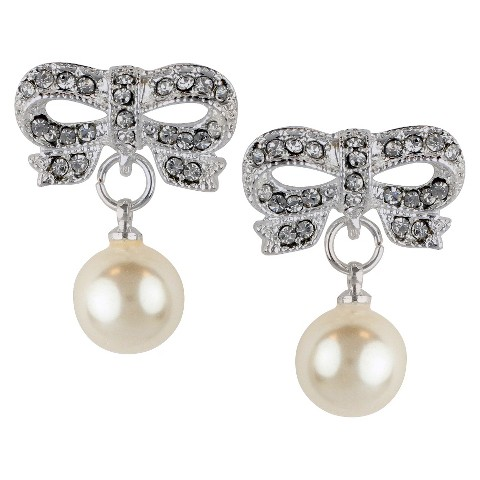 Crystal Bow with Pearl Round Drop Dangle Earring - Silver