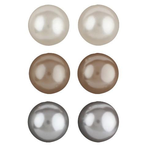 Trio Ball Post Earring - Cream/Brown/Gray (8 mm)
