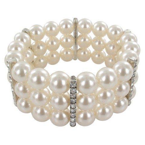 3 Row Pearl Beaded and Crystal Bracelet - Cream