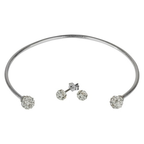 Crystal Earring and Cuff Set - Clear