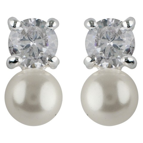 Pearl Drop Post Earring - Silver
