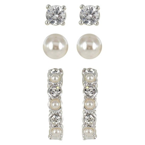 Trio Crystal with Pearl Post and Half Hoop Earring Set - Silver