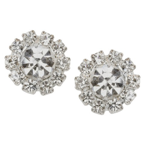 Crystal Button Post Earring - Silver