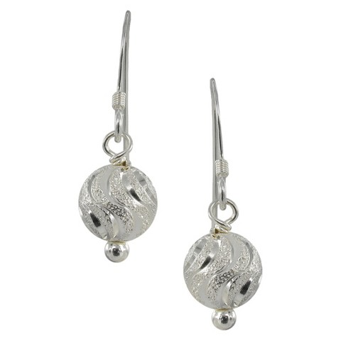 Laser Ball Dangle Earring - Silver