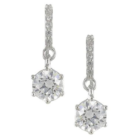 Cubic Zirconia Round Drop Dangle Earring - Silver