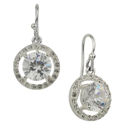 Cubic Zirconia Fancy Round Drop Dangle Earring - Silver