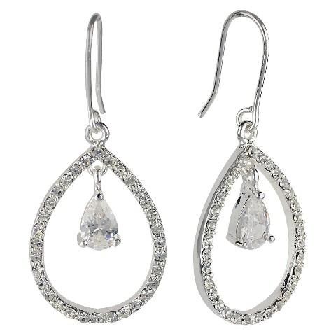 Cubic Zirconia Small Teardrop Dangle Earring - Silver