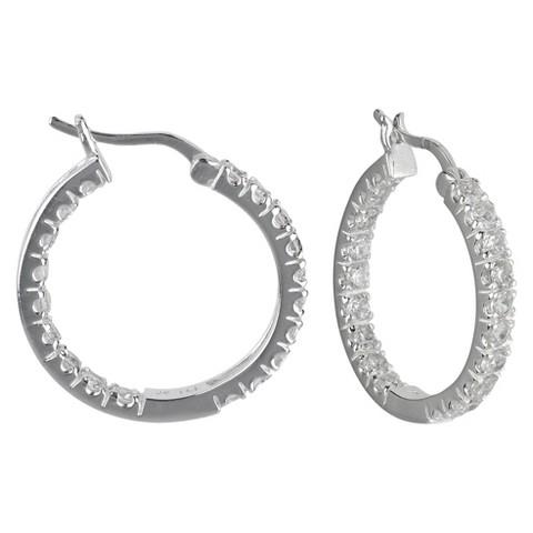 Cubic Zirconia Hoop Earring - Silver