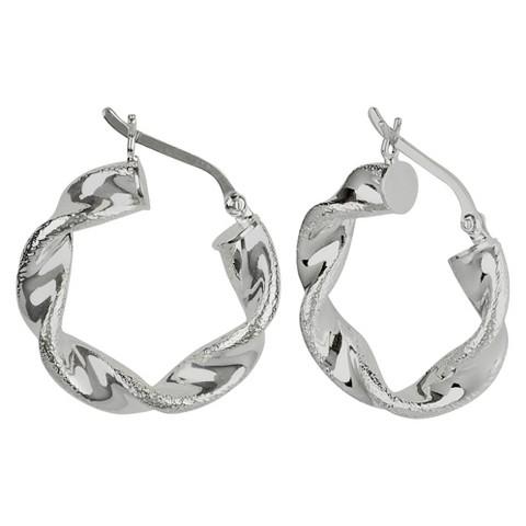 Twist Laser Finish Hoop Earring - Silver