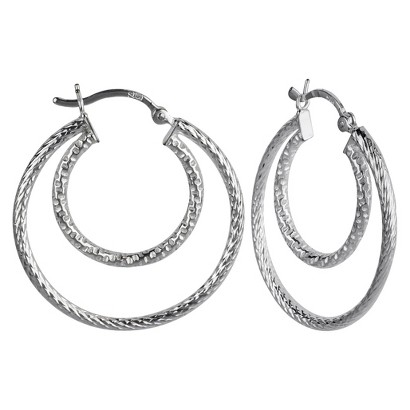 Diamond Cut Double Hoop Earring - Silver