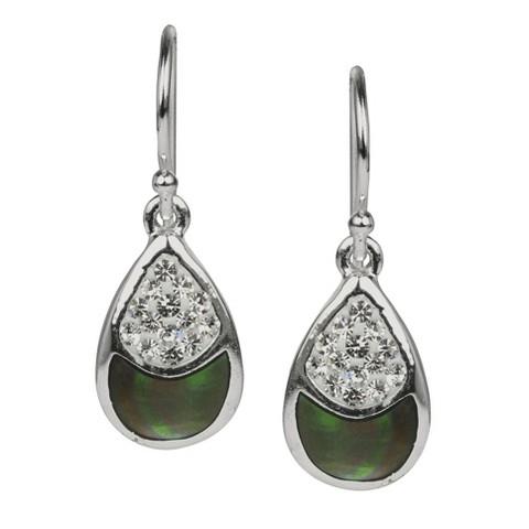 Fancy Teardrop Dangle Earring - Black/Silver