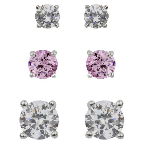 Sterling Silver Cubic Zirconia Trio Stud Earring Set - Pink/Clear