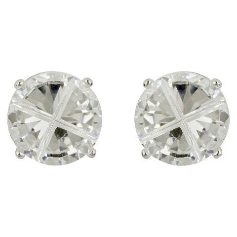 Sterling Silver Cubic Zirconia Round Stud Earring - Clear (8mm)