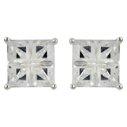 Sterling Silver Cubic Zirconia Square Stud Earring Set - Silver (8X8mm)