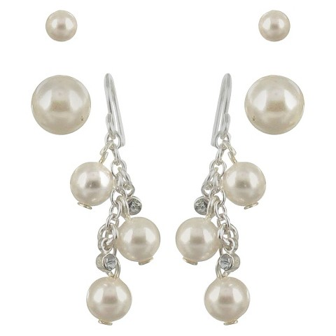 Trio 2 Pearl Post and Crystal Drop Dangle Earring Set - Cream