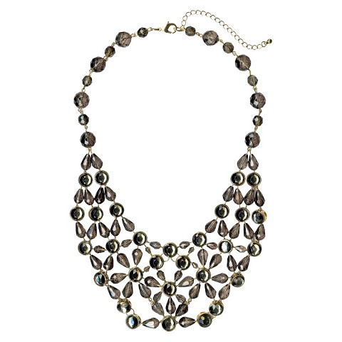 Glass Fashion Beaded Necklace - Coal