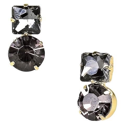 Glass Earrings - Gold/Grey