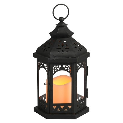 Metal Gazebo Lantern with integrated LED candle
