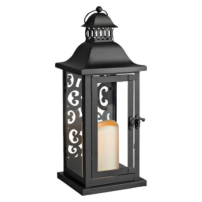 Scrolled Back Lantern with integrated LED Candle