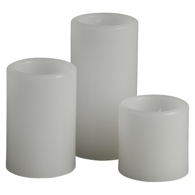 3pc White Pillar Candles
