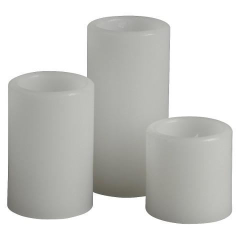 3pc White Pillar Candles