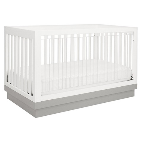 Babyletto Harlow 3-in-1 Convertible Crib with Toddler Rail - Acrylic/White/Grey
