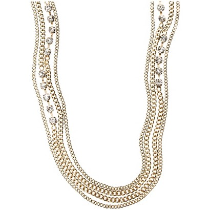 Capsule by Cära Rhinestone Long Multi Strand Statement Necklace - Gold