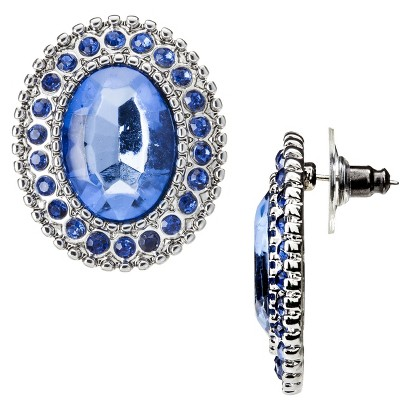 Capsule by Cära Large Blue Stone with Rhinestone Earrings - Blue/Silver